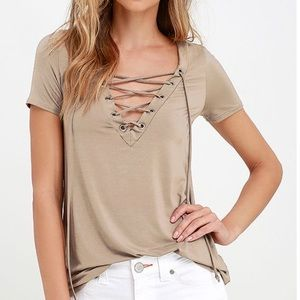 Lulu's taupe lace up shirt sleeve top